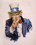 Stock Illustration of Uncle Sam Wearing The Starred Hat And Pointing His Finger