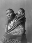 Hidatsa Indian Mother With a Baby on Her Back