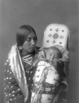 Apsaroke Native Woman With Baby