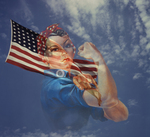 Rosie the Riveter With the American Flag