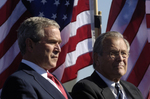 George W Bush and Donald H Rumsfeld