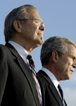 Donald H Rumsfeld and George W Bush