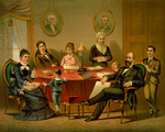 President James A Garfield and Family at a Table