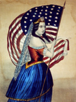 Picture of a Woman Carrying the Star Spangled Banner