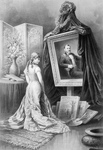 Woman Looking at Painting of Ulysses S Grant