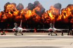 Wall of Flames Behind F-16 Fighter Jets