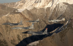 Five Fighter Jets Over Sawtooth Mountains
