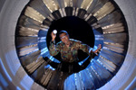 Inspecting Fan Blades of an F-16