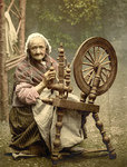 Woman Using a Spinning Wheel