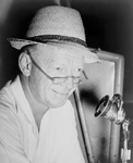 Red Barber at Microphone