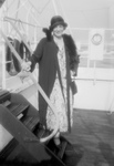 Ethel Barrymore Posing on Ship Stairs