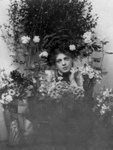 Ethel Barrymore Posing With Flowers