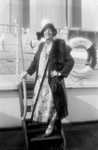 Ethel Barrymore Standing on Ship Steps