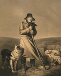 Shepherd in the Wind With His Dog and Sheep