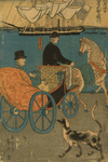 Man in a Carriage, a Dog Alongside