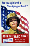 Picture of a WAC Woman With American Flag