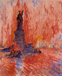 New York and Statue of Liberty in Fire