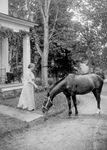 Helen Keller With a Horse in 1907