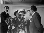 Helen Keller at a Flower Show