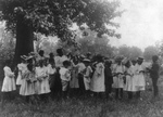 African American School Children and Teacher Outdoors