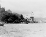USS Arizona in Flames