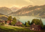 Homes, Church, Lake Thun and Mountains, Switzerland