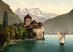 Boat and Dents du Midi by Chillon Castle