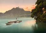 Ship on Lake Lucerne at Sunset