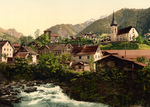 River and Homes in Burglen, Switzerland