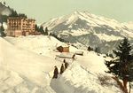People Walking in a Snow Path, Leysin, Switzerland