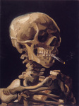 Picture of Vincent Van Gogh's Painting of a Human Skeleton Smoking a Cigarette