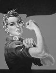 Picture of Rosie the Riveter in Black and White, No Text