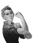 Picture of Rosie the Riveter in Black and White