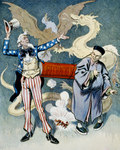 Picture of Uncle Sam and a Chinese Man With a Firecracker, Dragon and Eagle