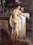 Photo of Carlotta Chabert as Venus, Standing Nude in a Garden With Doves by Francesco Hayez
