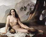 Photo of a Sorrowful Mary Magdalene Seated Nude With a Human Skull and Cross