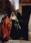 Photo of a Man in a Red Robe, Walking With a Woman in a Green Dress