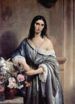 Photo of a Woman in a Blue Gown, Posing by Flowers, by Francesco Hayez