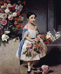 Photo of Countess Antonietta Negroni Prati Morosini as a Girl, Holding Flowers