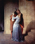 Photo of a Man Passionately Kissing a Woman at the Base of a Staircase, The Kiss, by Francesco Hayez