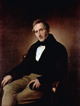 Photo of Alessandro Manzoni Seated in a Chair With His Legs Crossed