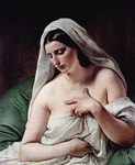 Photo of Odalisque, Nude and Draped in White Cloths by Francesco Hayez