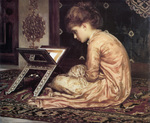 Photo of a Girl Sitting on a Carpet, Reading a Book at a Reading Desk by Frederic Lord Leighton