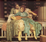 Photo of a Woman Teaching a Girl How to Play an Instrument, Music Lesson by Frederic Lord Leighton