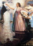 Photo of a Girl in a Pink Dress Feeding Peacocks by Frederic Lord Leighton