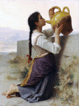 Photo of a Woman Kneeling by a Wall, Drinking Water From a Jar, by William-Adolphe Bouguereau