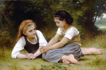 Photo of Two Girls Sitting in Grass, the Nut Gatherers by William-Adolphe Bouguereau