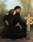 Photo of Two Women, One a Widow, Crouching at a Grave, the Day of the Dead by William-Adolphe Bouguereau