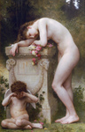 Photo of a Woman With Cupid, Mourning the Loss of Her Lover, Elegy by William-Adolphe Bouguereau