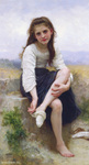 Photo of a Little Girl Taking Her Socks Off, Before The Bath by William-Adolphe Bouguereau